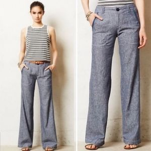 Anthropologie Pilcro Linen Wide Leg Pants, Size 12
